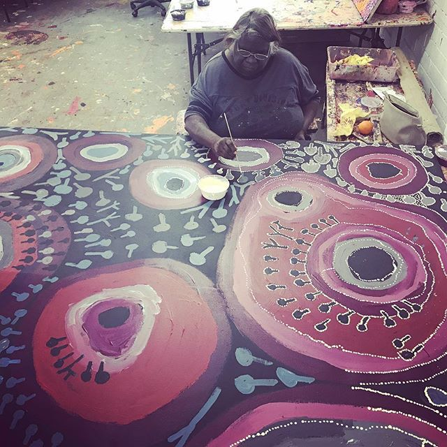 Polly Anne Smith,  who works beside her sister Mantuwa George every day in the Kaltjiti Arts studio. #continuingourstory #cultureboss