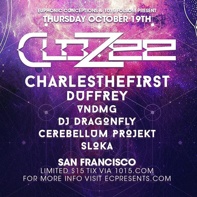 SAN FRANCISCO :: Very excited to come back to the bay to play this Thursday at @1015sf with @clozeemusic and @charles.thefirst !! 🚀🚀🚀 #bassmusic #westcoastbass #trap #bayarea #sanfrancisco