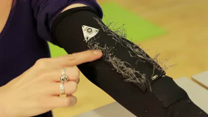 E-textile sensing device. Still image from Hacking the body 2.0 digital footage.