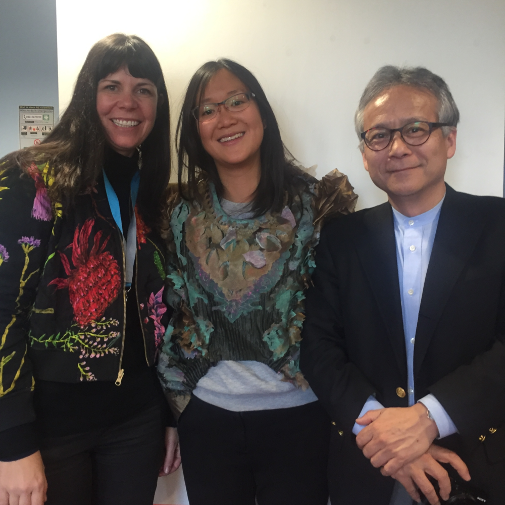 Zoe Mahony, Sara Adhitya (wearing BIOdress) and Hiroshi Ishii at TEI conference, February 2016