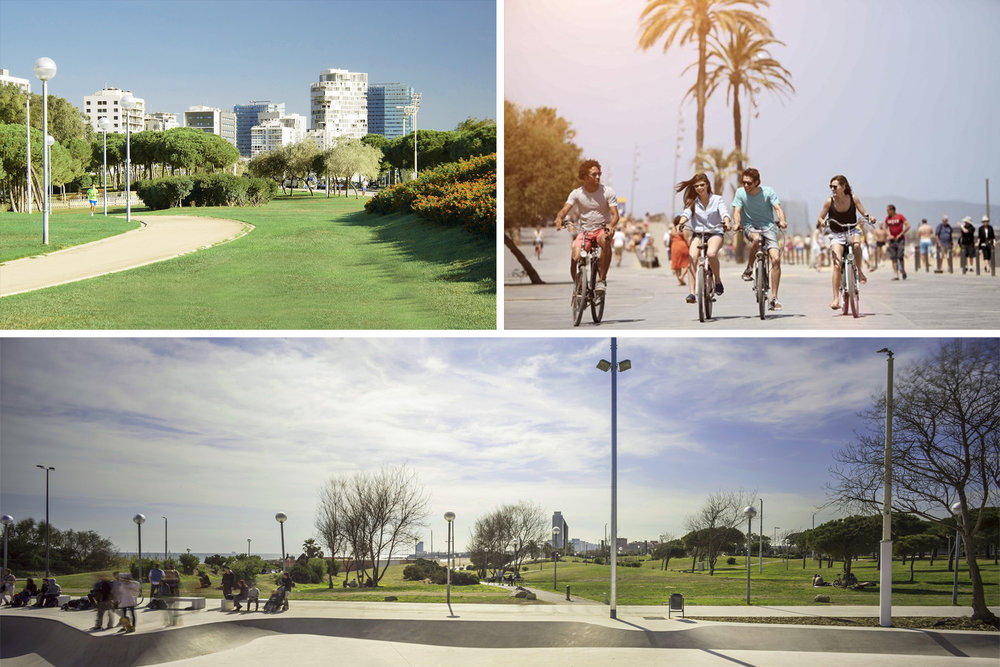 PARK OF POBLENOU - The 'Parc del Poblenou' is next to the promenade with its large green areas, new sports facilities, Skate Park, running tracks, bike paths, ideal for families and athletes.