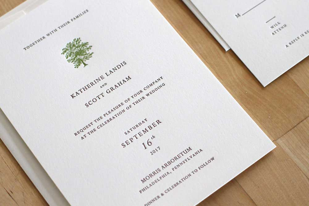 New York Tree Letterpress Invitation