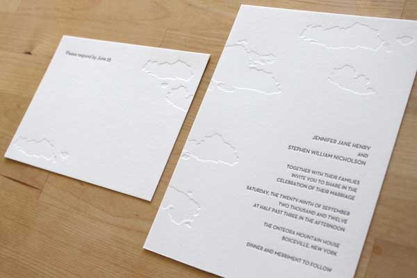 New York Skyline Letterpress Invitation