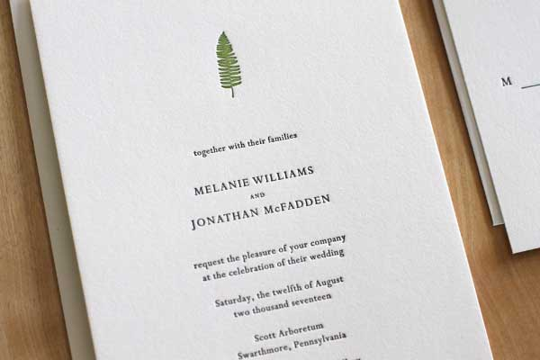 Fern New York Letterpress Wedding Invitation