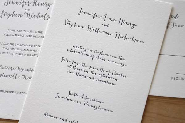 Copy of Simple Script Letterpress Invitation