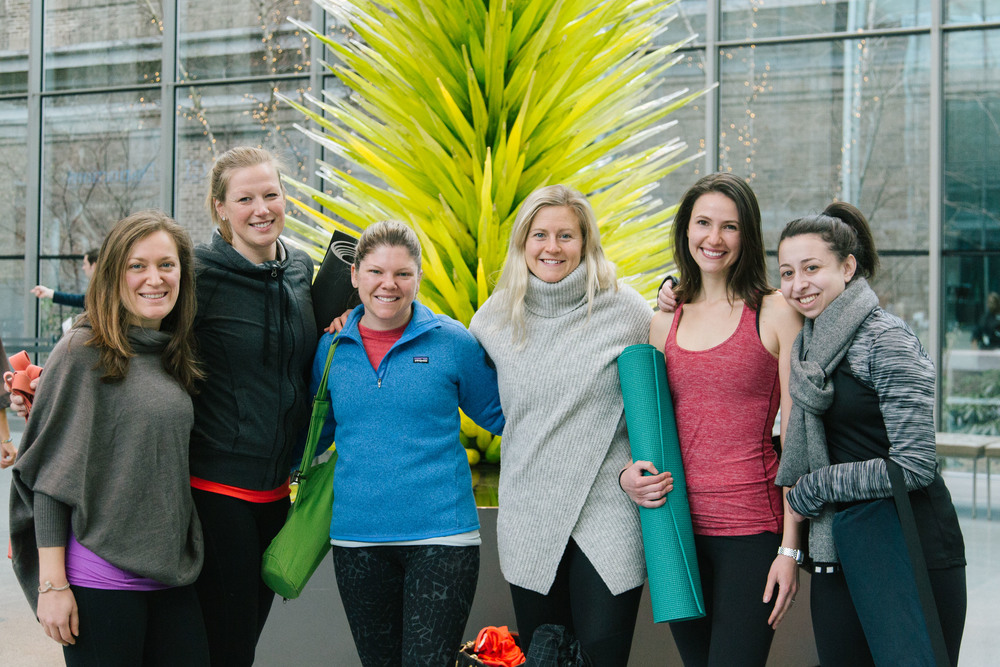 A few friends gather after the class to pose with the beautiful Chihuly sculpture