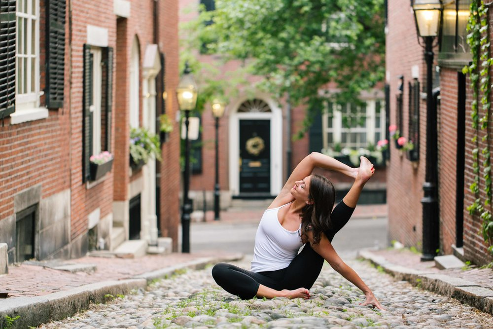 Boston Yoga Photographer on Acorn Street
