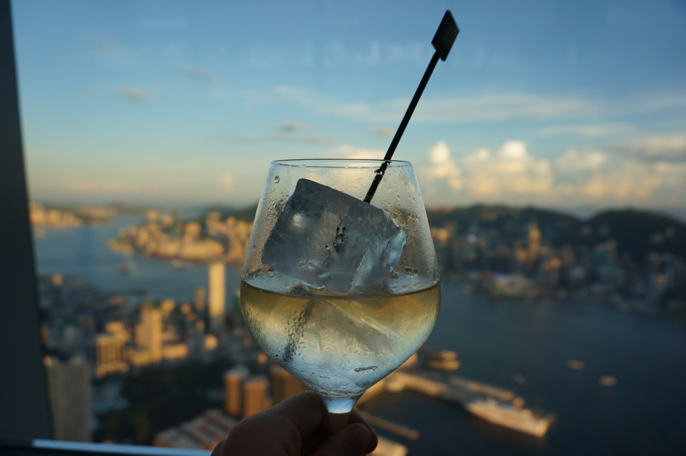 Cocktails at Ozone on the 118th floor of the ICC Tower Hong Kong