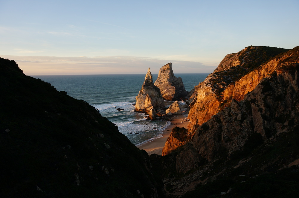 Praia da Ursa is only accessible by scrambling down a steep scree-covered slope