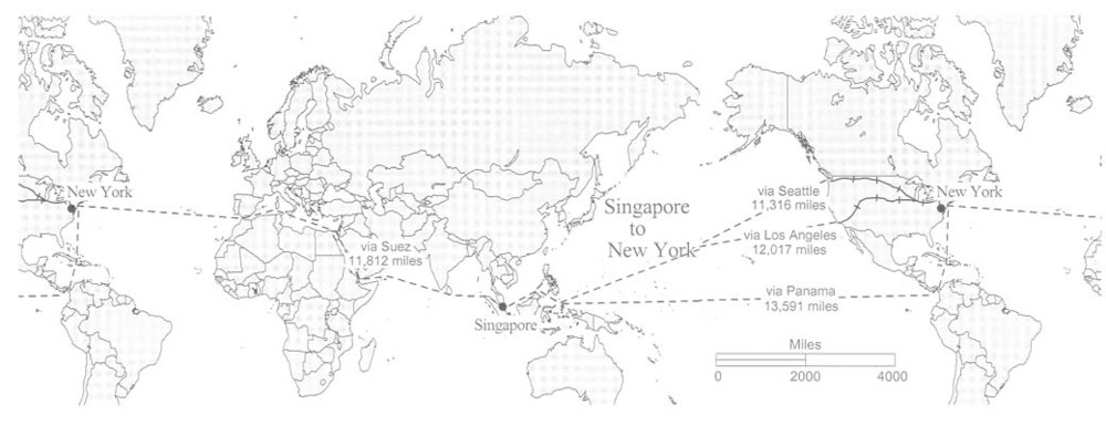Figure 3.  Alternative Routes Singapore to New York.  Map courtesy of Prof John Hudson, Northwestern University