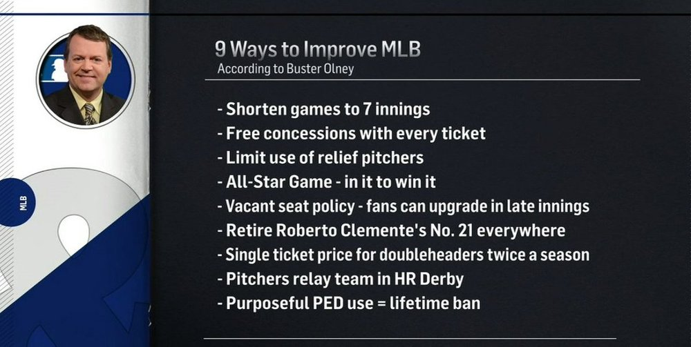 Good work Buster, these are all definitely great ideas. Whenever I see a player wear the number 21, the game of baseball is just absolutely RUINED for me.