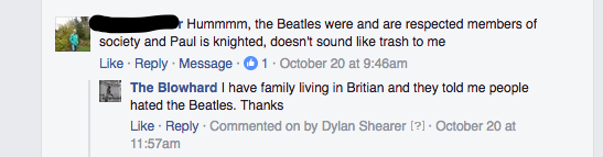 All my very very real cousins in London hate the Beatles.