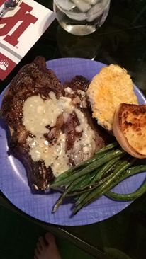 My dad's famous meal aka what I'm walking away from: Steak with blue cheese garlic butter on top, cheesy smashed potatoes (5 different kinds of cheese with butter and sour cream and bacon mixed in) and cheese garlic bread. I think even the beans have butter somewhere on them.