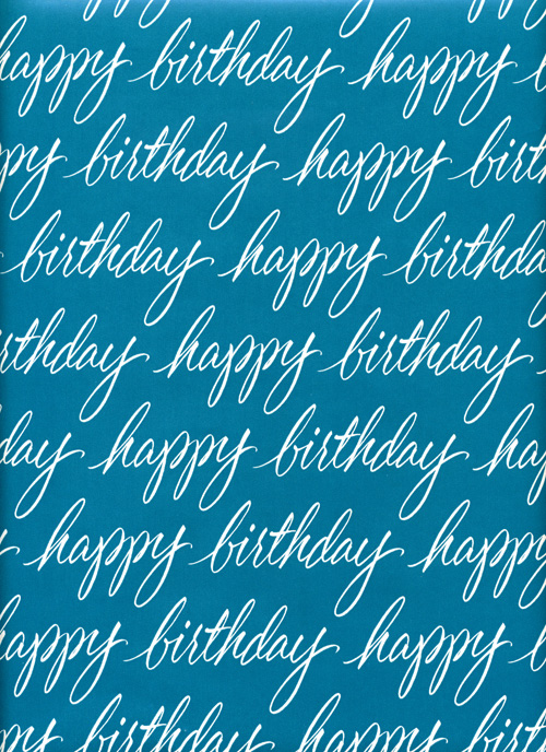 Birthday Script Happy Print Gift Wrapping Paper Design