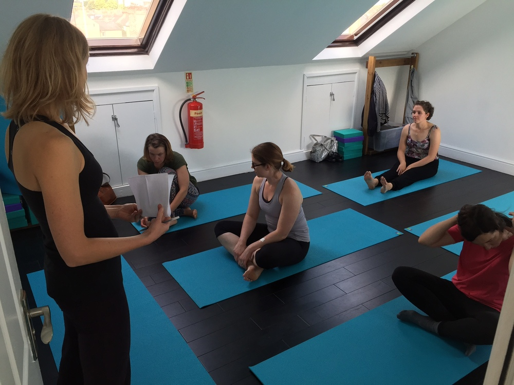 Pilates teacher Elina teaching her first taster session of the day in the loft room
