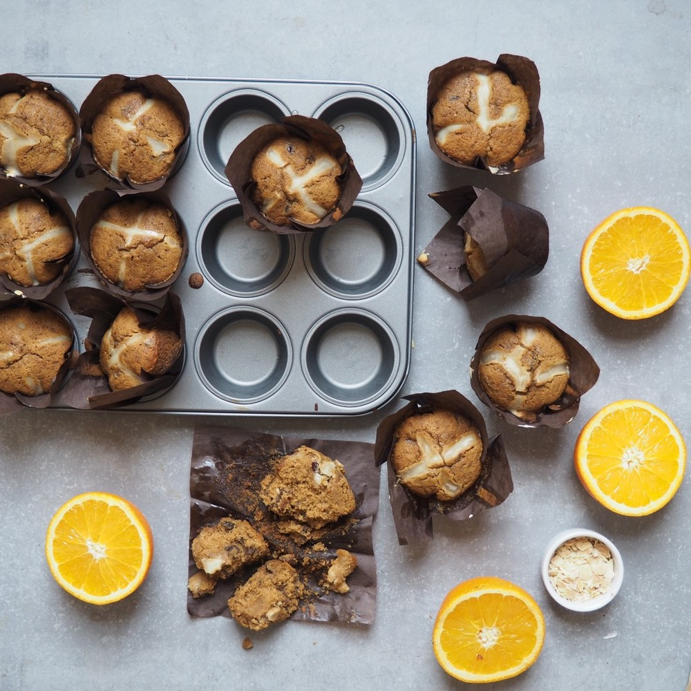 Gluten-free hot cross muffins by Madeleine Shaw (c)