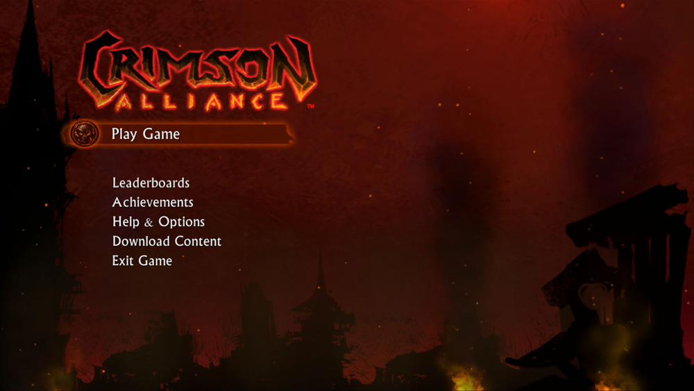 "Working on the design team, it was one of my many missions to grab the players' attention right out of the gates as the loading, starting, and main menu screens would be the first part of players' experience. On top of that, the characters in Crimson Alliance are strangers with different backgrounds traveling to three different, disparate locales. With so many different looks and themes colliding, it was one of my responsibilities to give the game a brand that united all of these differences.    I accomplished this by creating a ""Rome is Burning!"" look and feel that ties in the game's narrative beginning, and is permeated throughout the elements that populate and package the game."