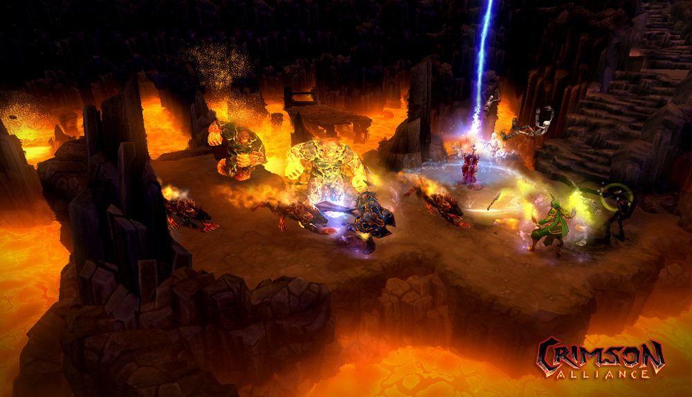 "After Crimson Alliance's launch, the fans wanted more. The challenge in designing DLC was to create a unique Crimson Alliance experience without the ability to add much in terms of new game mechanics and assets due to technical restrictions.  So what did we give them?  LAVA and lots of it.  The fans got their,  ""VENGEANCE,""  a DLC set in all new levels, one of them titled, ""Inferno."" My concept for Inferno provided an experience that hadn't been given to players yet in Crimson Alliance, an omnipresent environmental threat (the lava) rising all round them as the players needed to fight their way up and out of the dungeon while being slowed down all-the-way by enemies.  That's hot."
