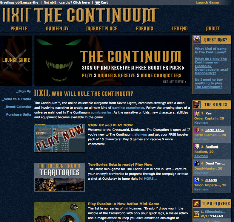 Lastly, we needed a destination that ran parallel to the game for The Continuum's ecommerce store, a player's account management, news updates, leaderboards, forums, comics, etc.  TheContinuum.com became the starting point for a player's continuum experience.