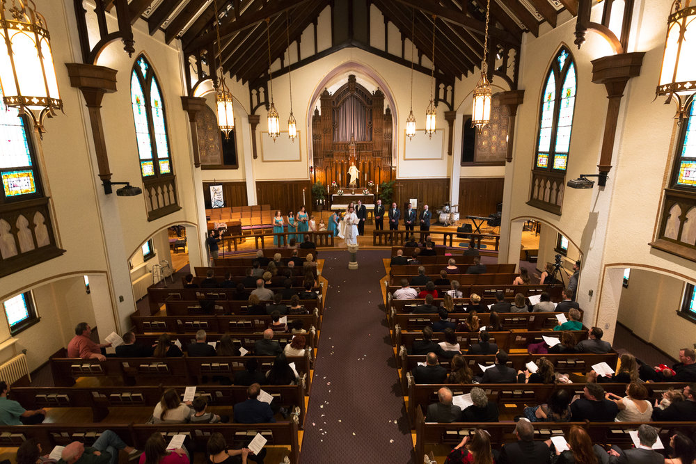 Elevated view of wedding chapel during ceremony