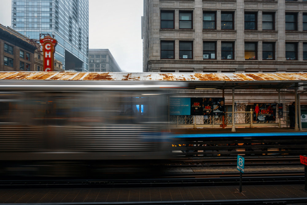 Chicago CTA train in motion