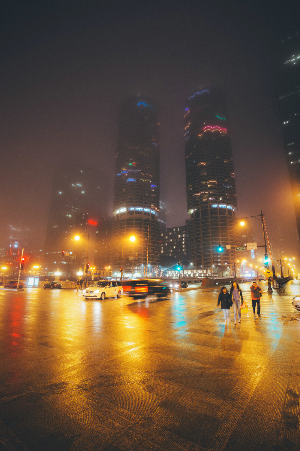 State and Wacker in fog with Marina City in background - Chicago, IL
