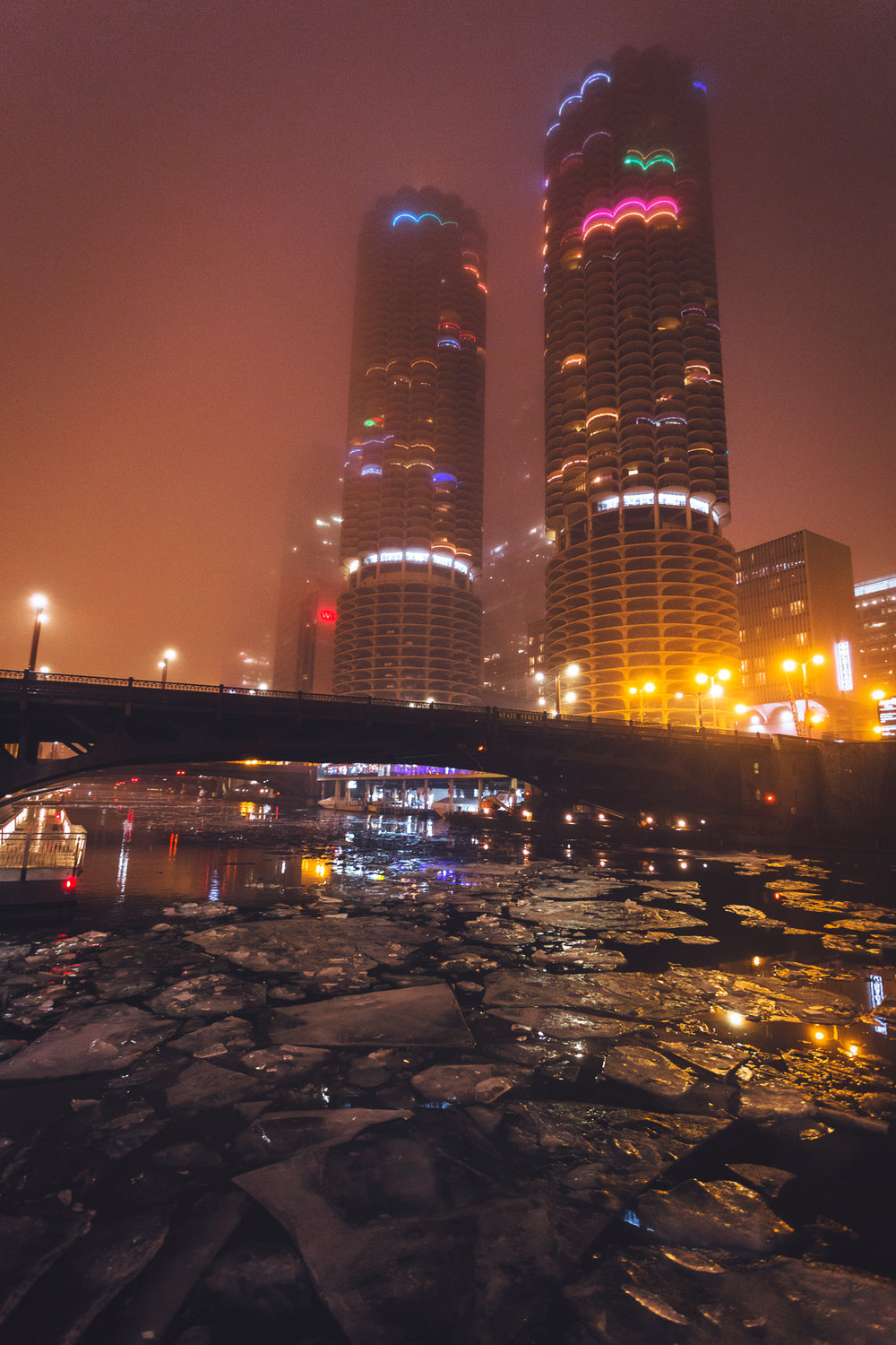 Marina City towers and Chicago river in fog