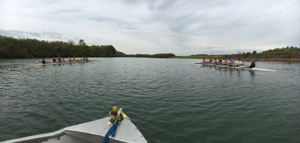 Novice Men's 8+ and Varsity Women's 8+ at practice
