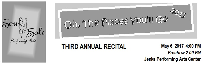Rehearsal and Recital Information, including student dismissal procedure and frequently asked questions is available  here .   ROSTER  A recital  roster  is posted on the Recital Wall.  It is very important that parents confirm as soon as possible your student's listing in each of their recital pieces as well as the spelling of their names. Spellings and class listings will be assumed to be correct on May 8th. The schedule of pieces will not be changed  , so please respect the time and effort that goes into scheduling so many students costume and make up changes.    PHOTOS  Recital Photos will be taken during class the week of May 16-20. Students should arrive in costume. If you have questions about hair and make-up, please consult with your student's instructor. Order forms are  available for download here ; order directly from BlinkPhoto. BlinkPhoto does our recital photos, and they make them available for viewing on their website with a password.   DVDs  DVDs are now available for pre-order  here . The pre-order price is less than the price for ordering at recital.  Payment must accompany your order  -  cash or check only . Checks should be made payable to  Soul II Sole.    FLOWERS  Flowers for your performer are now available for pre-order  here . Some bouquets will only be available for pre-order. Only a small number of single flowers and small bouquets will be available for purchase at recital.  Payment must accompany your order - cash or check   only . Checks should be made payable to  Soul II Sole .   SHOUT-OUTS and ADS  Shout-out and ad space for the program have been filled.   VOLUNTEERS  A recital volunteer sign up sheet has been posted to the Recital Wall, and positions are filled on a first come, first served basis. All parent volunteers will be able to watch their students' performance and a Thank You credit will be applied to your account after recital.