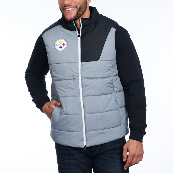 Chase away the chill, just like the players do with this Steelers Player Vest, from Nike. It's insulated, quilted, has hand warmer pockets, and looks SHARP! Also, we love the phone pocket on the chest - practical and convenient! By Nike. $125