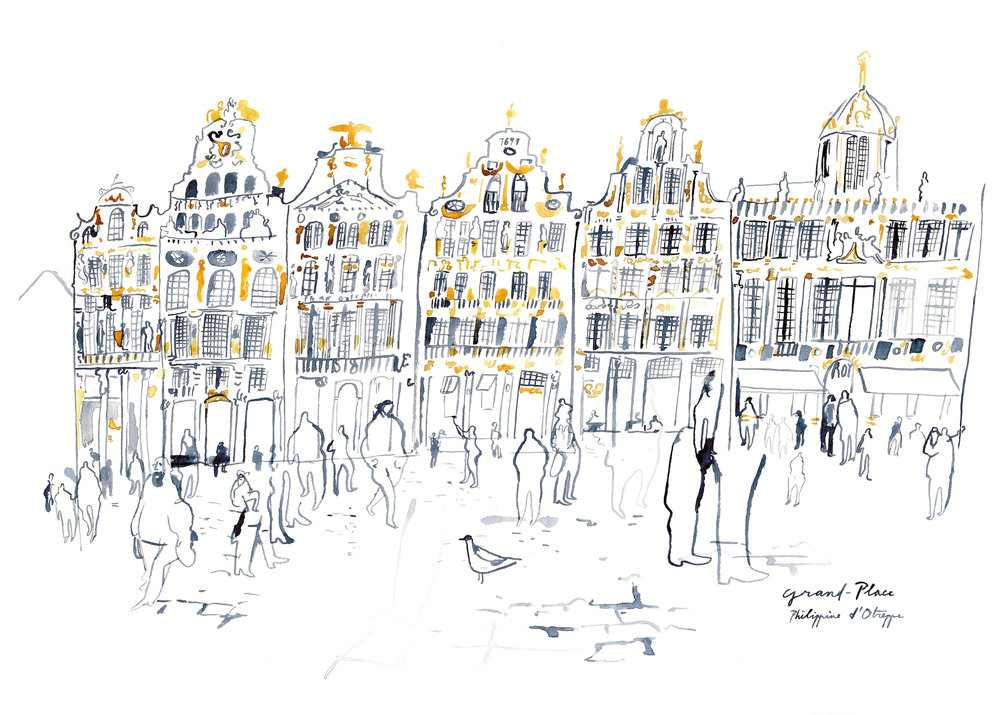 'Grand Place' watercolours - 2016 49,9 x 69,8 cm