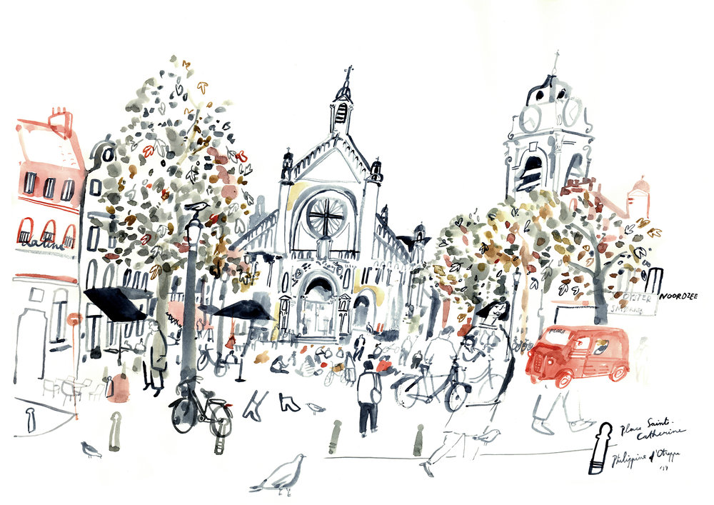 'Place Sainte-Catherine' watercolours - 2017 42 x 59,4 cm