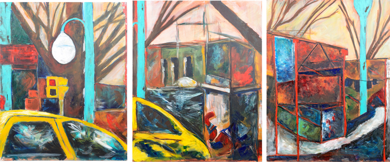 The very first three painting I made in Glenn's painting seminar at SFAI. Scenes from a City, Jan-March 2010.