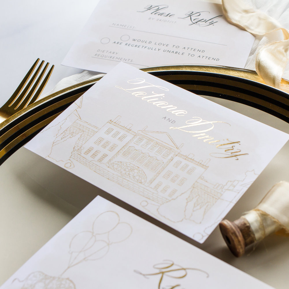 Tatiana & Dmitry Unique Wedding Invitations Hand Illustrated with Gold Foil Details 2 - Pingle Pie.jpg