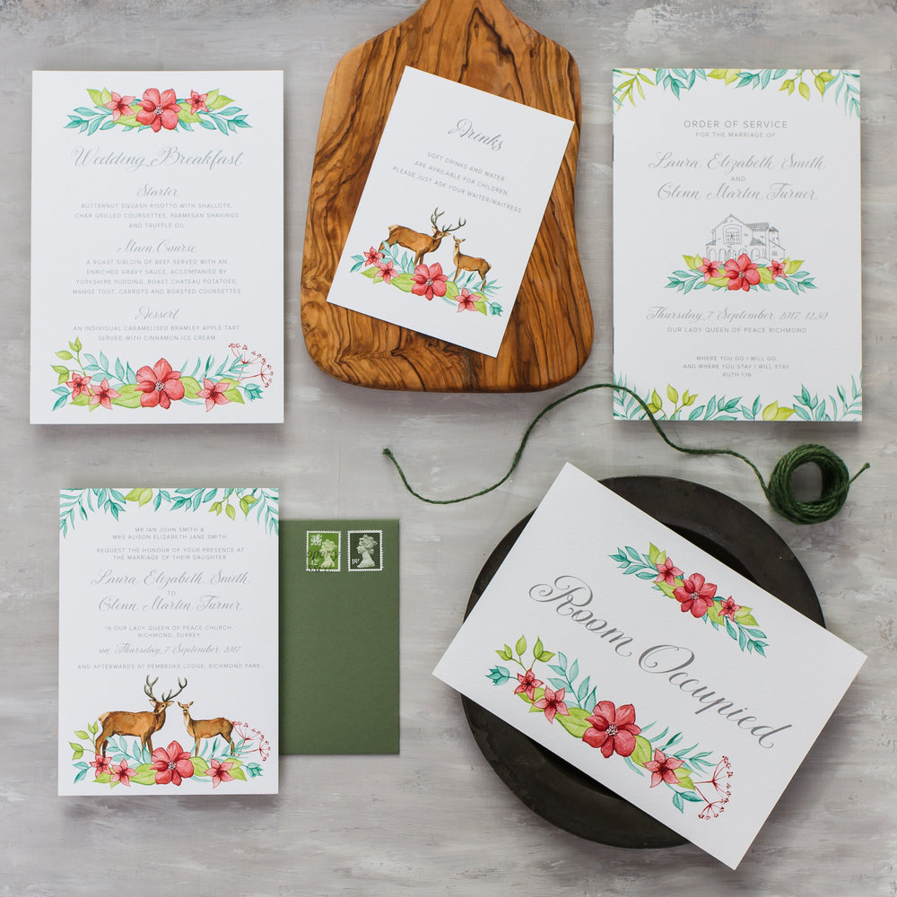 Laura & Glenn Custom Watercolour Design Woodland Deer, Flora and Fauna, Boho Wedding Stationery Design - Pingle Pie 1.jpg