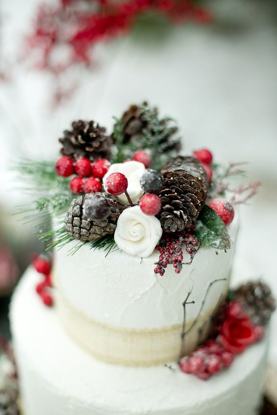 Winter Wedding Theme, Christmas Wedding Ideas, December Wedding Inspiration - Cake.jpg