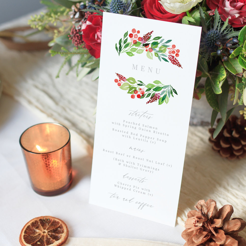 Wintery Menu, Winter Greens and Red Berries, Hand Painted Wedding Stationery.jpg