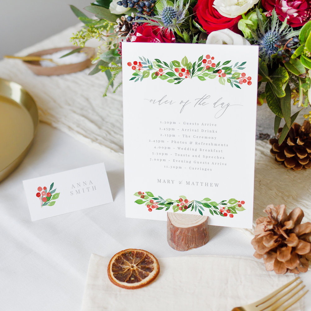 Wintery Order of the Day & Place Card, Winter Greens and Red Berries, Hand Painted Wedding Stationery.jpg