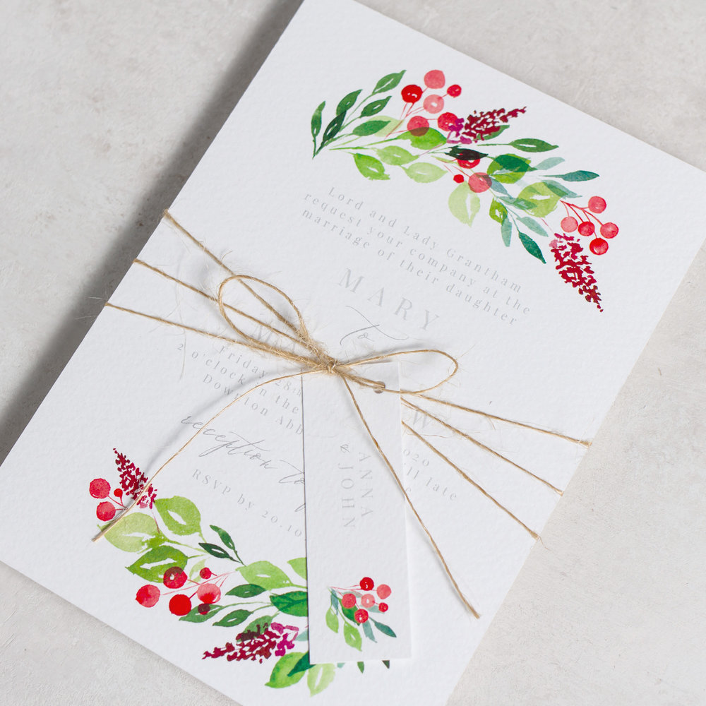 Winter-Wedding-Stationery-Luxury-Unique-Hand-Painted-Botanical-Leaves-Berries-Grenery-Hand-Painted-Wedding-Invitation-Parcel-Evergreen-Pingle-Pie.jpg