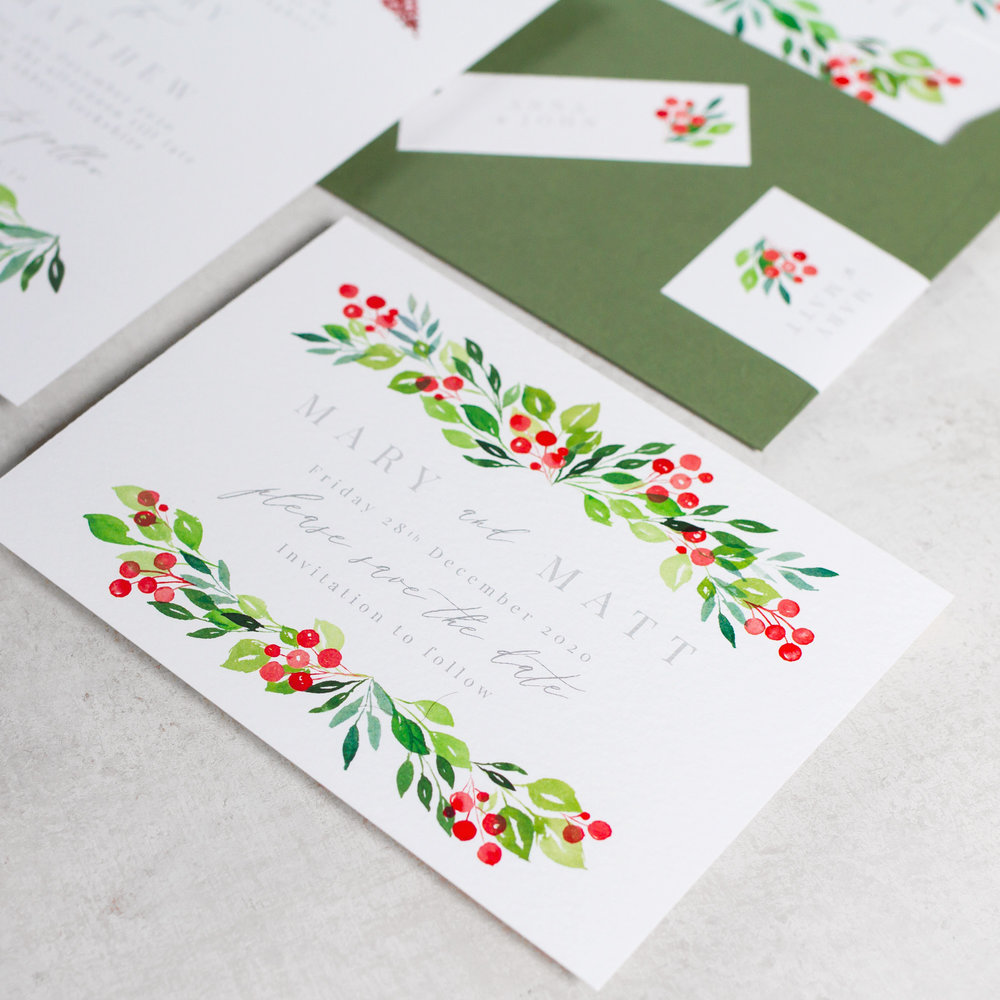 Winter-Wedding-Stationery-Luxury-Unique-Hand-Painted-Botanical-Leaves-Berries-Grenery-Hand-Painted-Wedding-Save-the-Date-Evergreen-Pingle-Pie.jpg