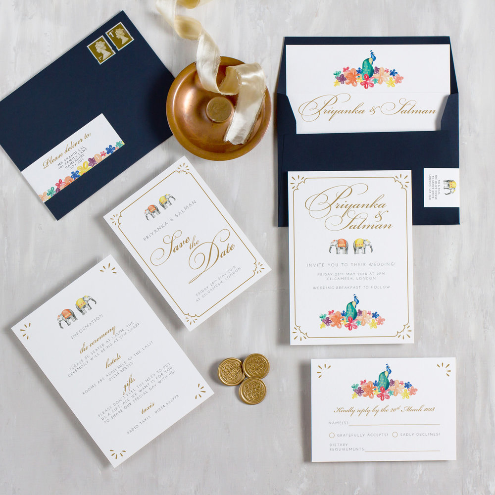 Indian-Summer-Wedding-Stationery-Luxury-Unique-Hand-Painted-Botanical-Peacock-Elephant-Summer-Bright-Gold-Hand-Painted-Wedding-Invitation-Collection-Pingle-Pie.jpg