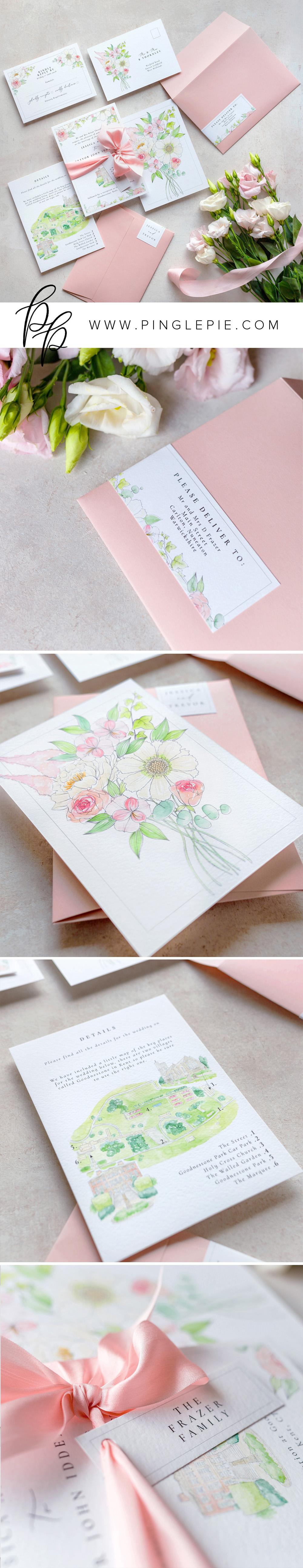 Wedding Invitations - Custom Design - Blush Pink Bouquet - Pingle Pie