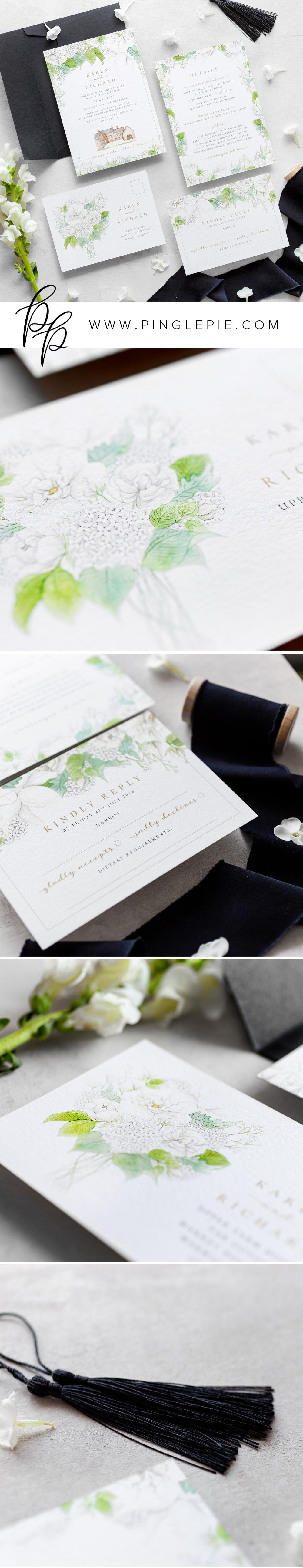 Bespoke Wedding Invite - Botanical Wedding Stationery - Pingle Pie