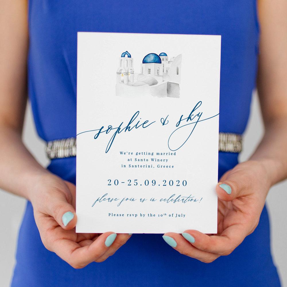 Locale, Personalised Wedding Venue Sketch Illustrations, Personalised Venue Illustration Invitations, Bespoke Wedding Stationery, Custom Wedding Stationery, Santorini Wedding Invitation.jpg