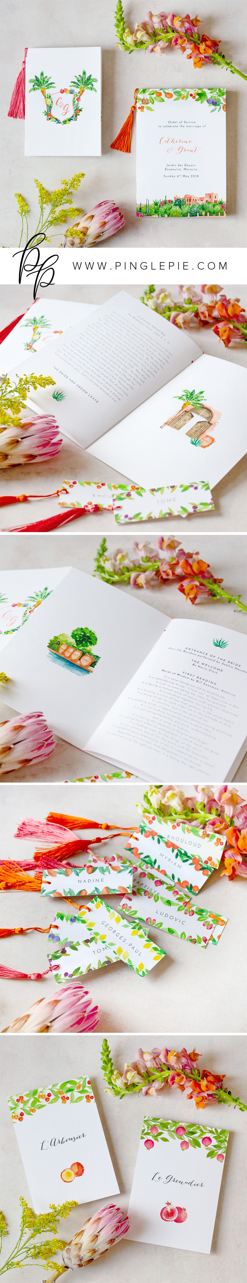Bespoke Wedding Stationery - Bright Moroccan Design - Pingle Pie