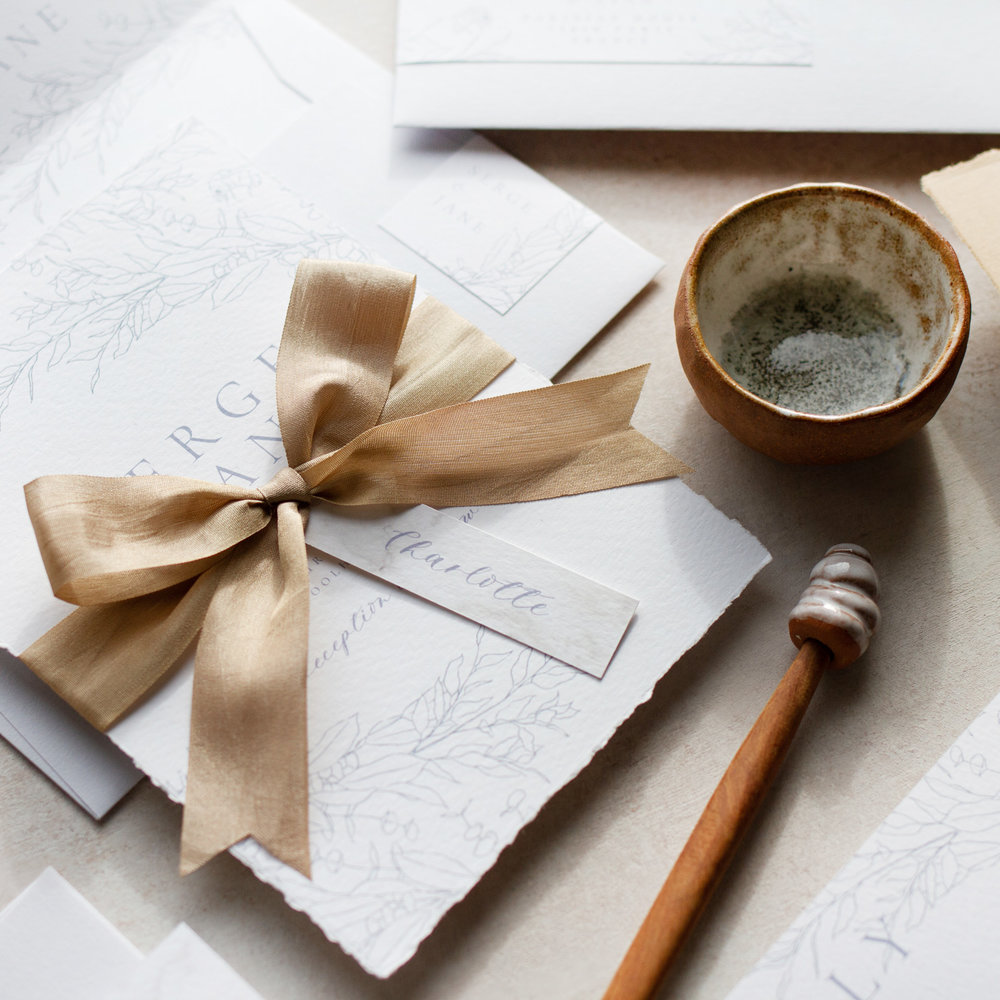 Bumble Bee Illustrated Wedding Invitation with Organic Silk Bow - www.pinglepie.com.jpg