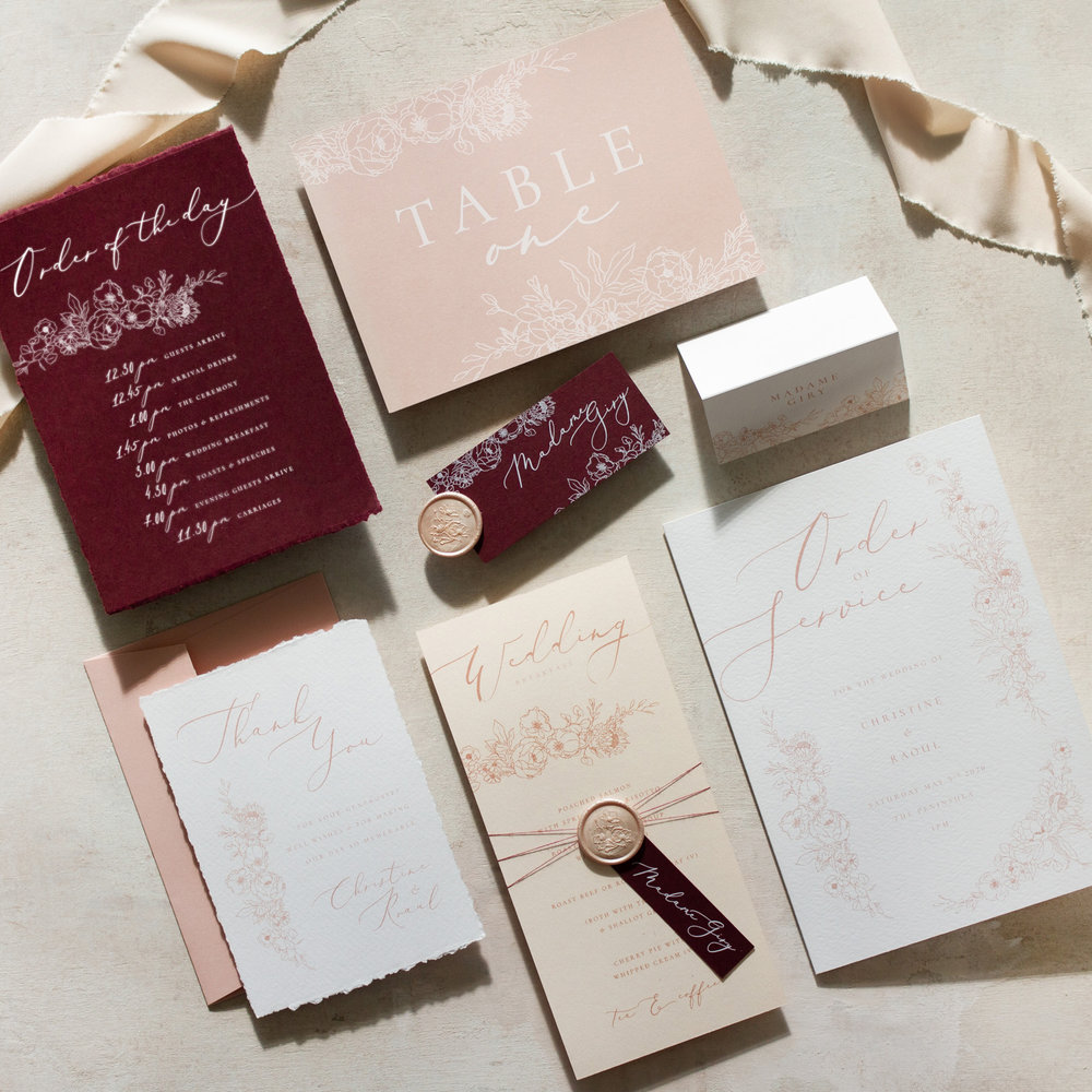 Blush Petals Luxury On the Day Wedding Stationery with Blush Pink Wax Seal and Deckled Edges - www.pinglepie.com.jpg