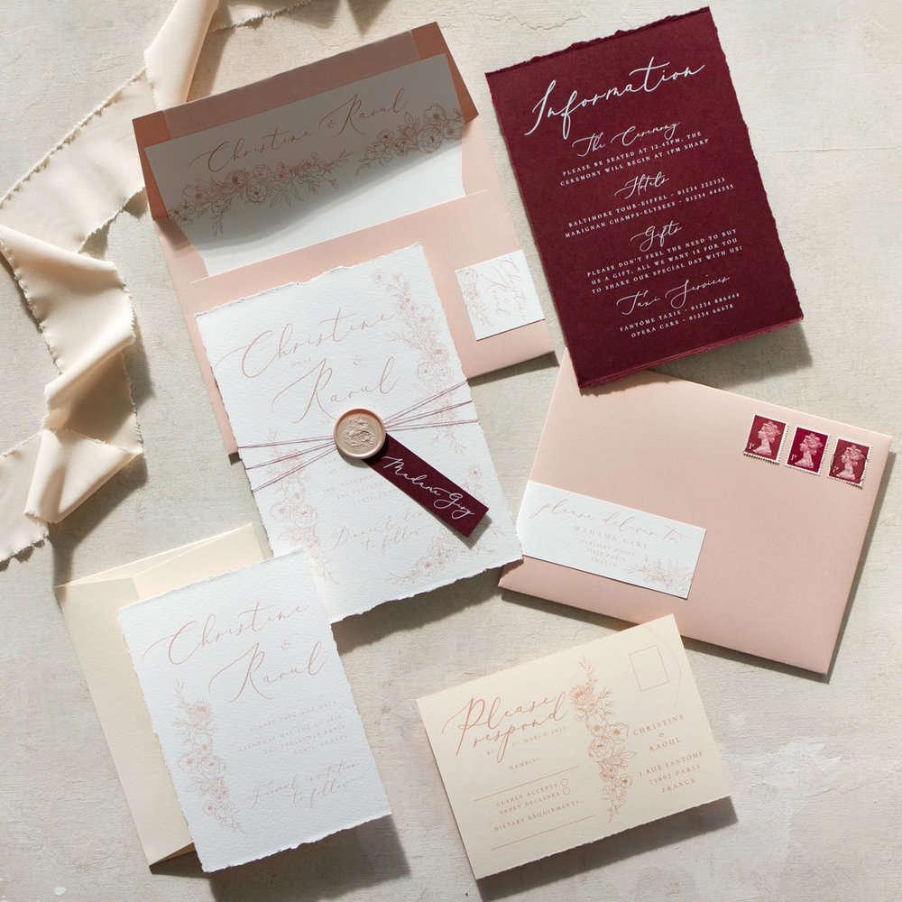 Blush Petals Luxury Fine Art Wedding Stationery with Blush Pink and Burgindy Details with Blush Pink Wax Seal - www.pinglepie.com.jpg