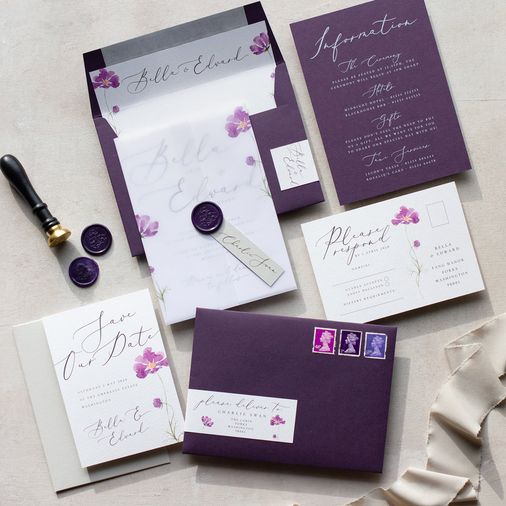 Amethyst Eclipse Hand Painted Watercolour Wedding Stationery with Vellum Wrap and Wax Seal Details - www.pinglepie.com.jpg
