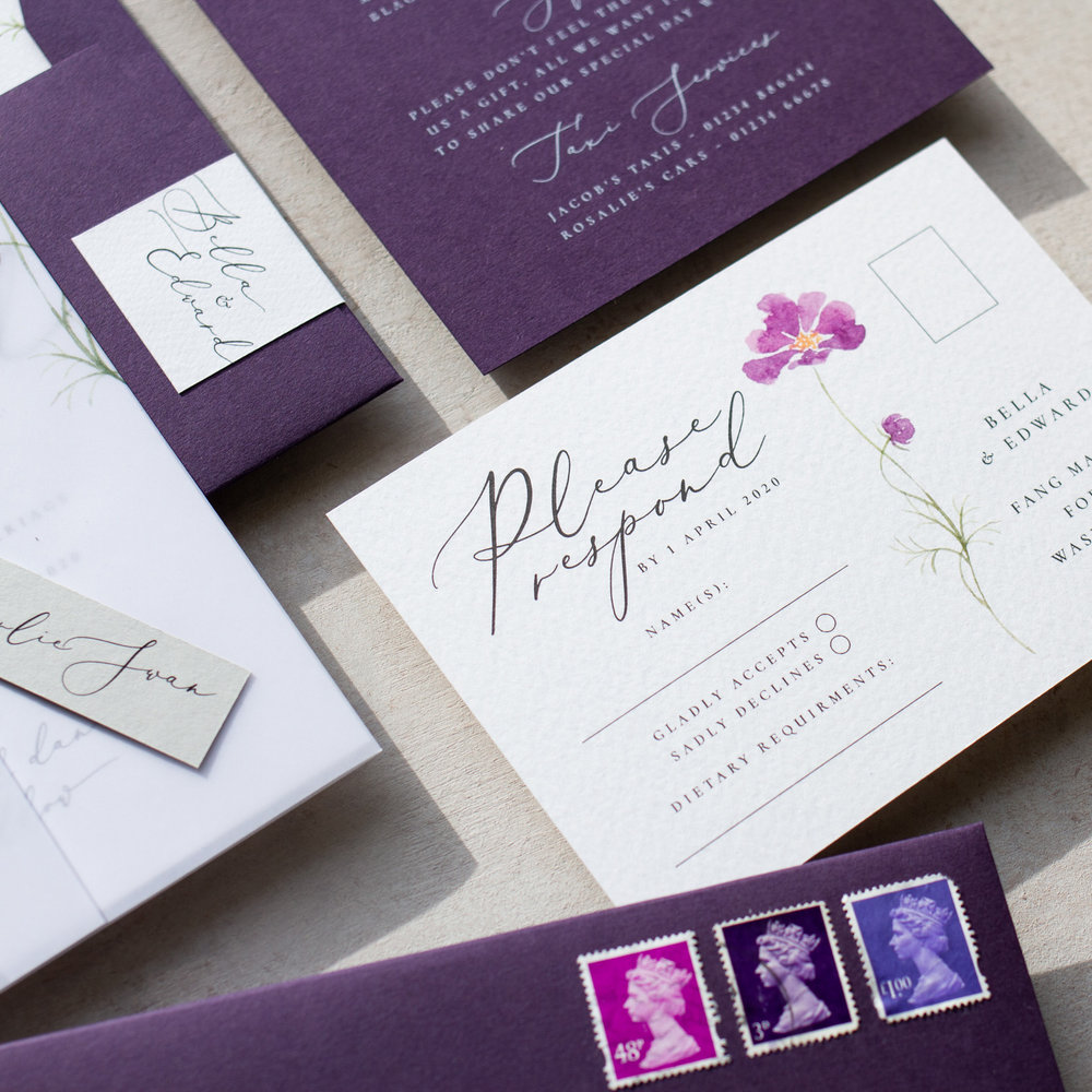 Amethyst Eclipse Watercolour Wedding Stationery with Lilac Flower - www.pinglepie.com.jpg